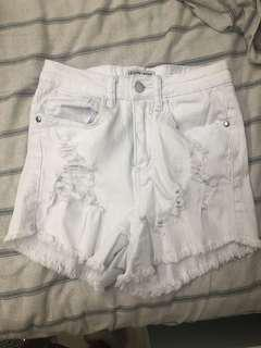 White high waisted jean shorts
