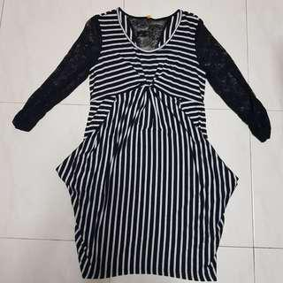 🚚 [CLEARANCE] Monochrome Striped Dress with Lace Sleeves