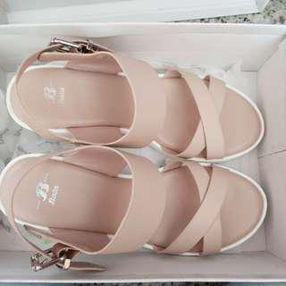 Dusty Pink & White Platform Sandals