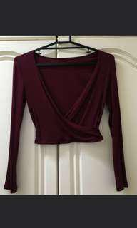 Maroon ribbed cropped top