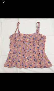 newlook vintage dusty pink floral button down camisole top