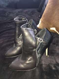 'Isabelle Collection' black fur heels