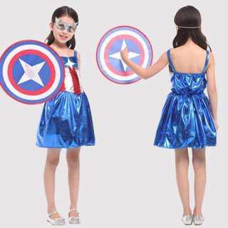 09db7eaec6  IN STOCK  Girls Captain America Captain Marvel Dress Costume Kids  Superhero Costume Girls Superhero