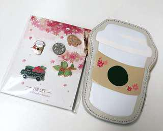 🆓NM! Cute limited edition Starbucks Korea Autumn 🍂 Pin Set & Cherry Coffee Pouch