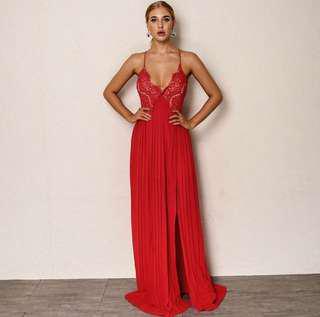 Red lace ball dress