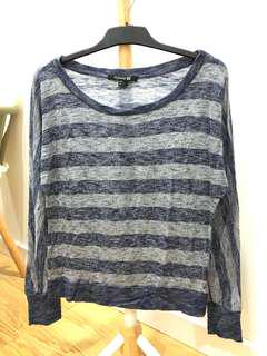 Forever21 Blue Grey Stripe Sweater