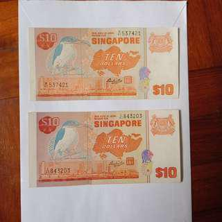 Bird series $10 note 2pcs