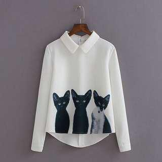 Longsleeves whites with cats print
