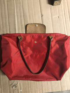 Longchamp le pliage long handle tote bag in red