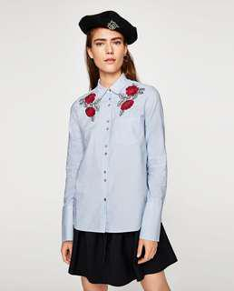Zara Floral Embroidered Shirt