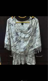 Beartwo 白色兩件式上衣 背心可單穿 地圖設計印花上衣