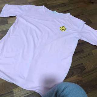 pink smiley tee