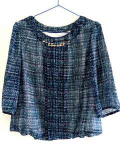 🚚 IRIS珍珠鑽鏈(造型)雪紡上衣