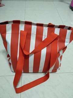 Esprit 2-way bag in orange/white stripes