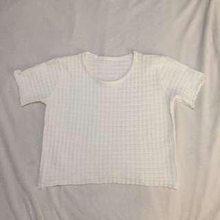 White Knit Waffle Crop Top