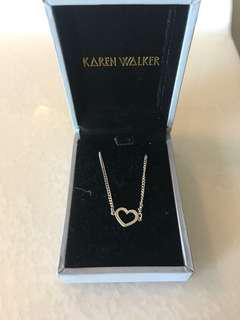 Sliver Karen Walker Heart Necklace