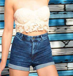H&M Blue High Waisted Shorts