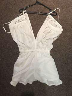 White Lippy Playsuit