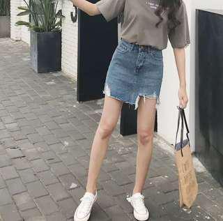 Ripped Denim Skirt #mcsfashion