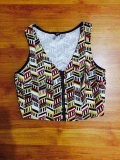 H&M aztec zipped up crop top