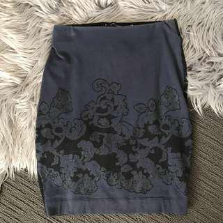 🔸 French Connection Navy & Black Bodycon Skirt size 6