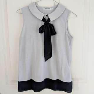 Thin Light Grey Collared Sleeveless Top with Bow