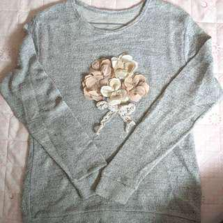 Thin Light Grey Long-Sleeve Top with Flowers