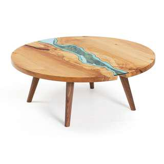 Suar Wood River Style Round Coffee Table