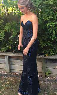 Navy Blue Sequined Strapless Ball Dress