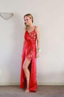 Red Satin and Lace Ball Dress