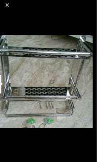 🚚 Stainless steel rack Double Layers. Brand new. Bathroom toilet 40cm * 39cm * 16cm (Length * Height * Width)
