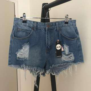 Boohoo Ripped Denim Shorts