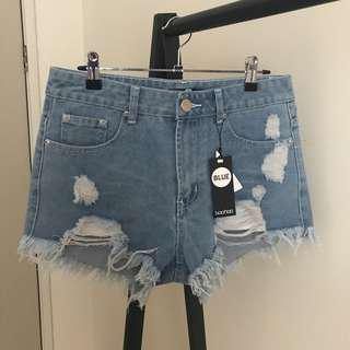 Boohoo Distressed Denim Shorts