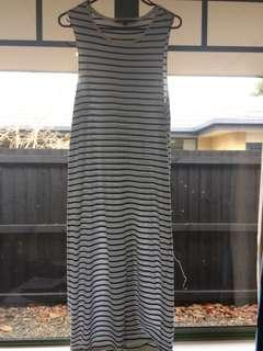 Glassons black and white striped long dress