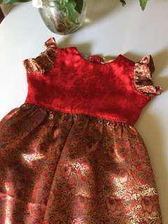 Red golden etnic girl dress 4-5 Y