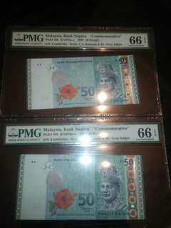 2 x AA RM50 Commemorative (50 Ringgit) (50RM) (RM 50)