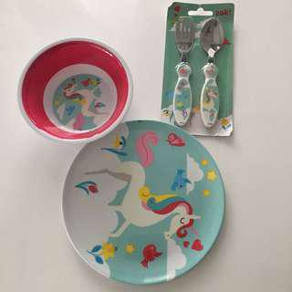 Unicorn bowl plate fork spoon set feeding ser kmart cotton on gap poney