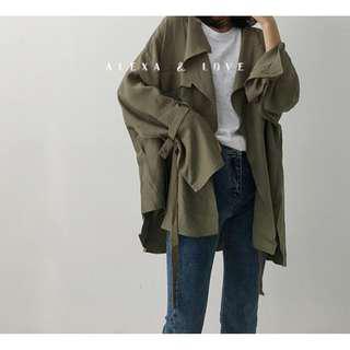 Alexa&Love 韓系灰綠色寬鬆工裝外套風衣短款薄外套(特)
