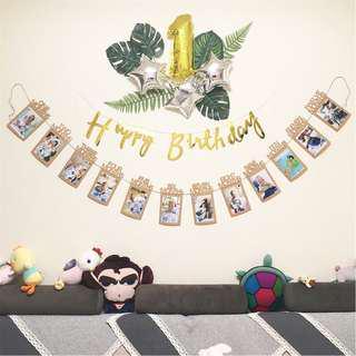"🚚 instock - 1st Birthday Recording 1-12 Month 5X7"" Photo Baby Shower Bunting Banner Garlands"