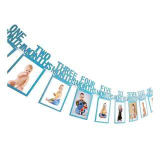 🚚 INSTOCK BLUE GLITTER 4R PHOTO BANNER 12MONTH BIRTHDAY