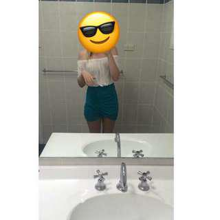 Kookai slit skirt turquoise