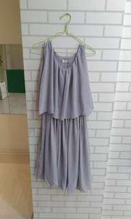 🚚 灰色質感氣質連身裙 換物不賣