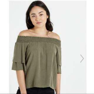 🚚 Cotton On Army Green Off Shoulder Ruffle Top