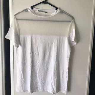 White mesh shirt