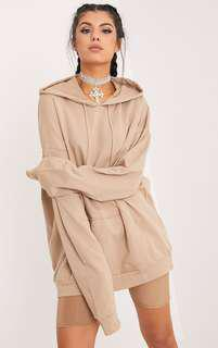 Pretty Little Thing Oversized Beige Hoodie Sweater Jumper