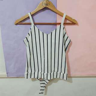 Black & White Stripes Ribbon Blouse