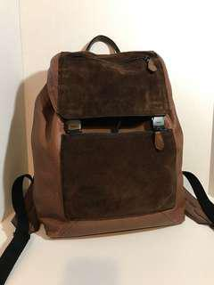 Coach Chocolate Leather and Suede Backpack