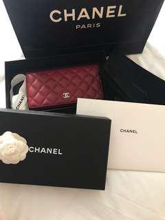 Chanel Yen Wallet in Red Lambskin