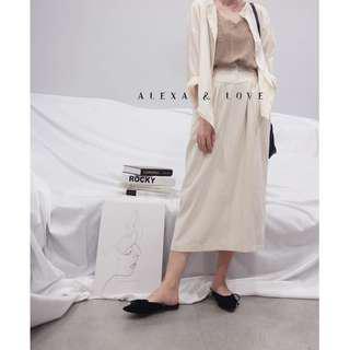 Alexa&Love 韓系高腰氣質杏色半身裙(兩色特)