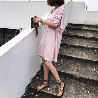 粉色緞面洋裝